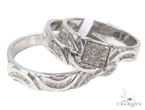 Diamond Wedding Silver Ring Set 40211 Anniversary/Fashion