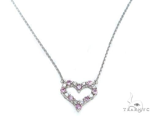 Heart Pink Sapphire Diamond Necklace 40829 Gemstone