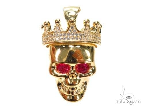 Crown Skull Sterling Silver Pendant 41163 Metal
