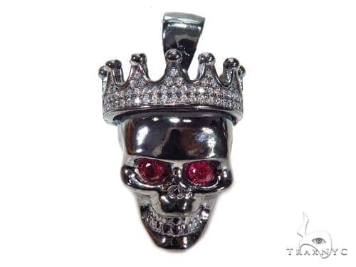 Crown Skull Sterling Silver Pendant 41164 Metal