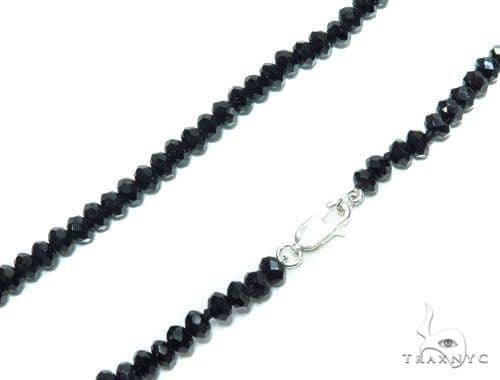 Black Spinel Silver Lock Chain 41429 Silver
