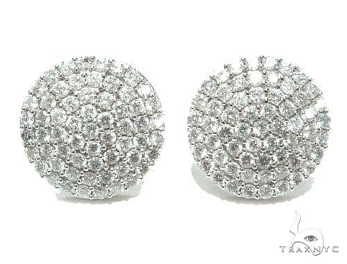 14K Gold Dome Diamond Earrings Stone