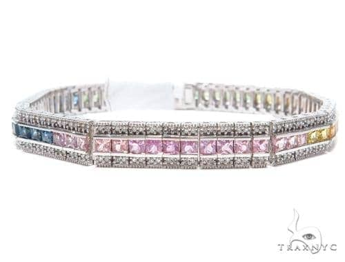 Prong Diamond Gemstone Bracelet 41874 Gemstone & Pearl