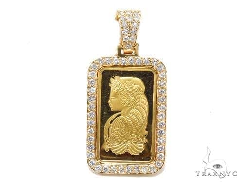 10 Gram Gold Pamp Suisse Bar Diamond Pendant 42305 Metal
