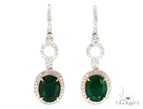 Belle Diamond Emerald Earrings 42415 Stone