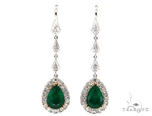 Green Bell Diamond Emerald Earrings 42417 Stone