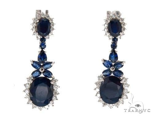 Prong Diamond Sapphire Earrings 42431 Stone