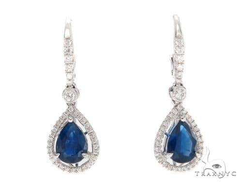 Prong Diamond & Pear-cut Sapphire Earrings 42436 Stone
