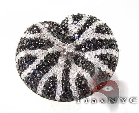 Black and White Diamond Cushion Ring Anniversary/Fashion