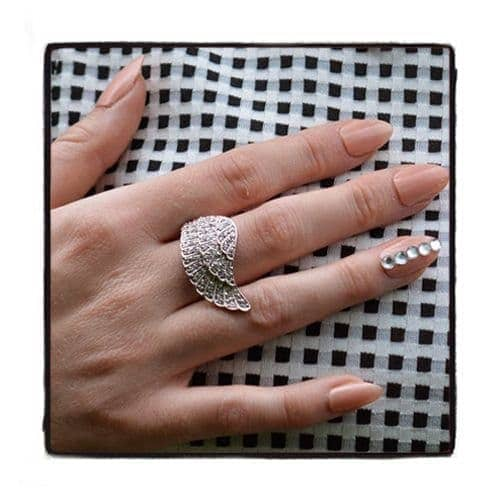 Clear CZ Filigree Wing Ring 21319 Anniversary/Fashion