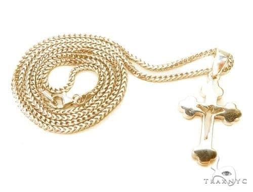 Holy Cross Crucifix Franco Gold Chain Set  43353 Metal