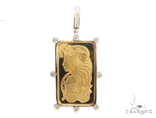 Gold Pamp Suisse Bar Diamond Pendant 43564 Metal