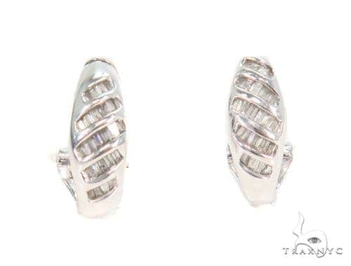 Channel Diamond Hoop Earrings 43983 10k, 14k, 18k Gold Earrings