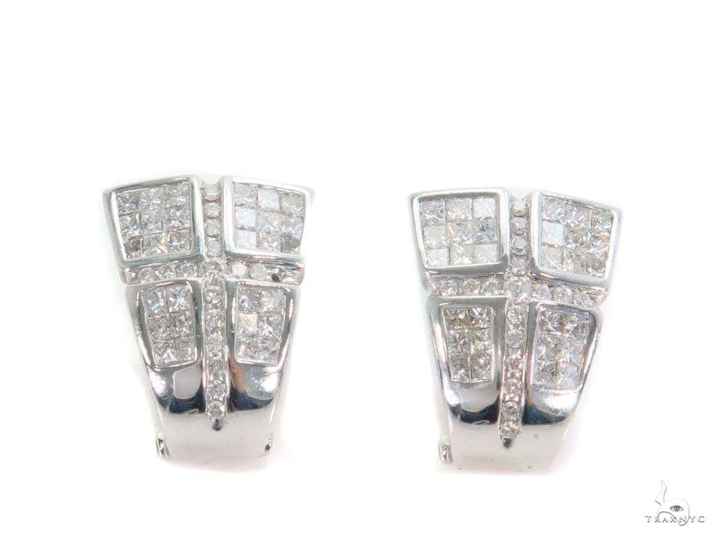 Invisible Diamond Hoop Earrings 43989 10k, 14k, 18k Gold Earrings
