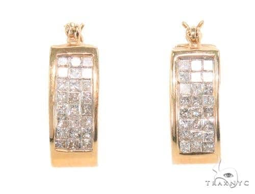 Invisible Diamond Hoop Earrings 43994 10k, 14k, 18k Gold Earrings