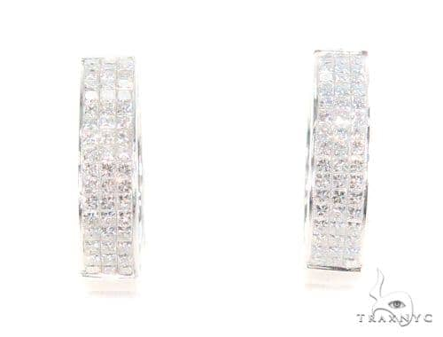 Invisible Diamond Hoop Earrings 43996 10k, 14k, 18k Gold Earrings