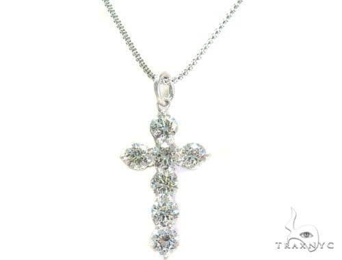 Prong Diamond Cross Crucifix Necklace Set 44601 Diamond