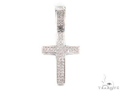 Prong Diamond Silver Cross 37435 Silver