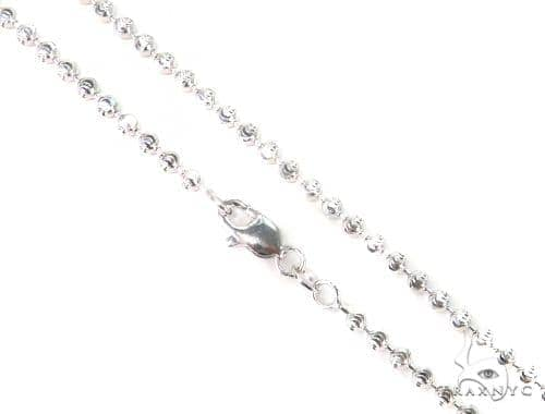 14K White Gold Moon Cut Chain 16 Inches 2mm 8.4 Grams 44687 Gold