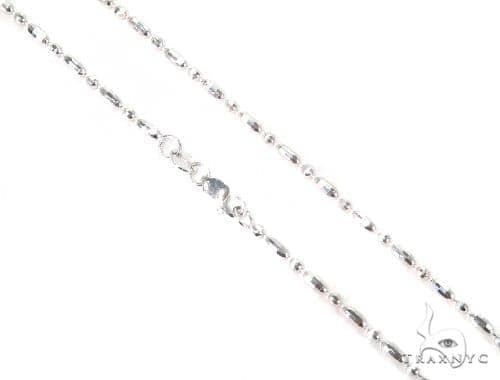 14K White Gold Fancy Bead Chain 16 Inches 1.8mm 5 Grams 44691 Gold