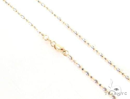 14K Two Tone Gold Fancy Bead Chain 16 Inches 2mm 4.1 Grams 44739 Gold