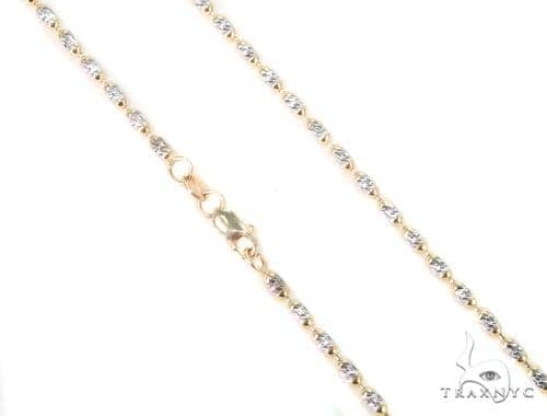 14K Two Tone Gold Fancy Bead Chain 16 Inches 2mm 6.2 Grams 44696 Gold