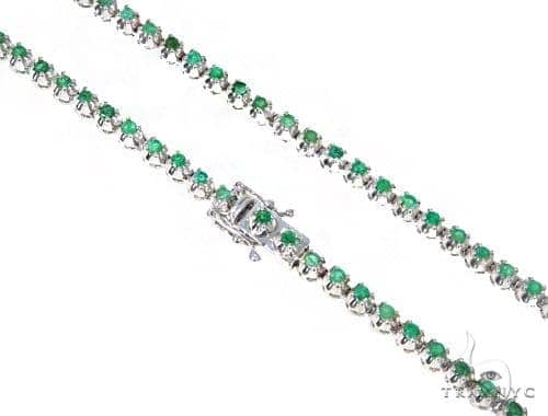 Emerald Gemstone Silver n 30 Inches 5mm 55 Grams 44841 Silver