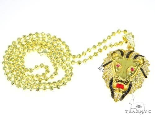 Lion Moon Cut Silver Moon Cut Chain Metal