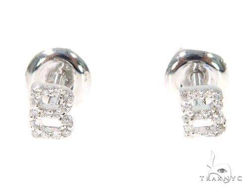 Prong Diamond Initial 'B' Earrings 32631 Stone