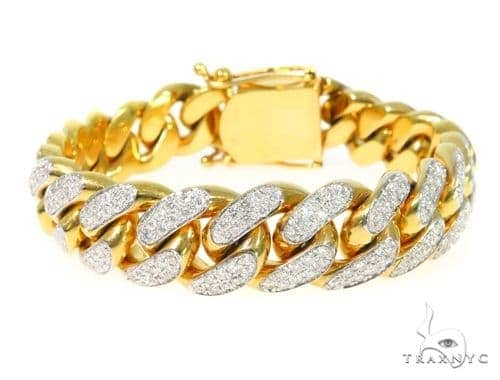 ef67f255db4 14K Yellow Gold Diamond Cuban Bracelet 45367 Diamond
