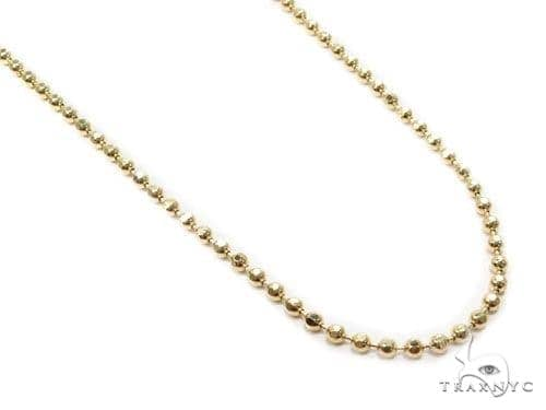 Mens 10k Solid Yellow Gold Diamond Cut Ball Link Moon Cut Chain 30 Inches 3mm 17.90 Grams 46812 Gold