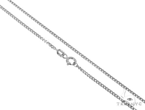 Mens 14k Solid White Gold Cuban/curb Chain 18 Inches 2.4mm 4.84 Grams 47150 Gold