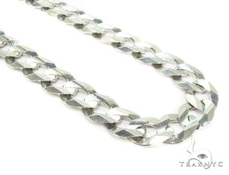 Mens 14k Solid White Gold Cuban/curb Chain 24 Inches 9.8mm 53.53 Grams 47166 Gold