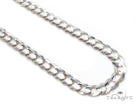 Mens 14k Solid White Gold Cuban/curb Chain 24 Inches 4.6mm 14.18 Grams 47171 Gold