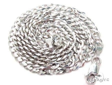 Mens 14k Solid White Gold Cuban/curb Chain 26 Inches 3mm 6.84 Grams 47193 Gold
