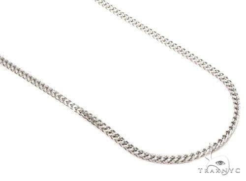 Mens 14k Hollow White Gold Franco Chain 16 Inches 1.1mm 3.00 Grams 47569 Gold