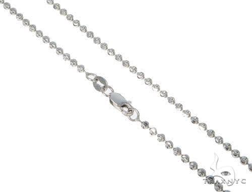 14k Diamond Cut White Gold Moon Cut Chain 24 Inches 2mm 6 Grams Gold