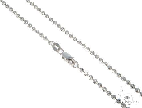 14k Diamond Cut White Gold Moon Cut Chains 2mm Assortment of 18, 20, 22, 24, 26, 28 Inches Gold