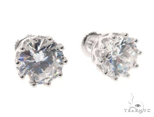Small CZ Sterling Silver Earrings 48918 Metal