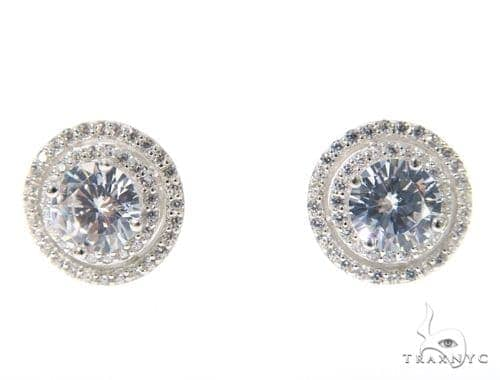 Small CZ Sterling Silver Earrings 48919 Metal