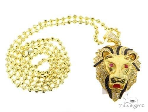 Silver Lion Head Pendant Set 48938 Metal