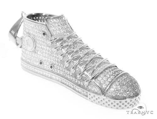 Silver CZ Shoe Pendant 49022 Metal
