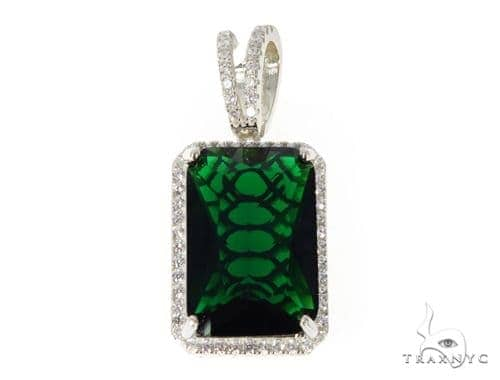 Silver CZ Hot Green Gemstone 49050 Metal