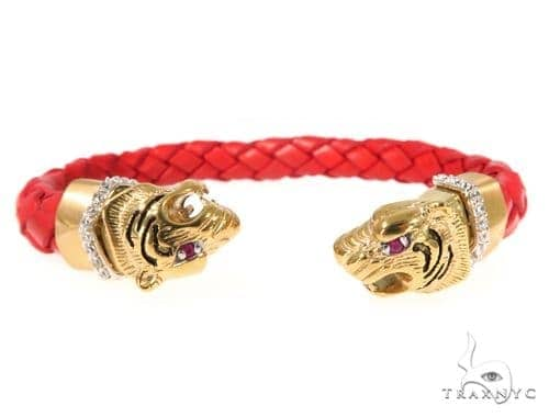 Tiger Stainless Steel CZ Bangle Bracelet 49057 Silver & Stainless Steel