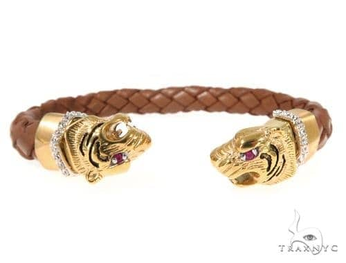Tiger Stainless Steel CZ Bangle Bracelet 49059 Silver & Stainless Steel