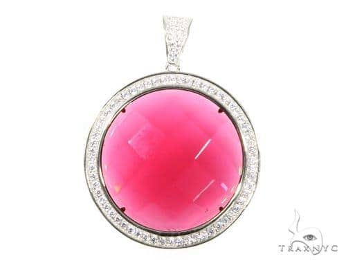 Silver CZ Red Round Gemstone  Pendant 49013 Metal