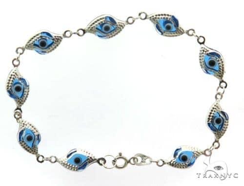 Silver CZ  Evil Eye Bracelet 43241 Silver & Stainless Steel