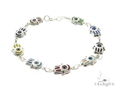 Silver CZ  Hamsa Hold Bracelet 49110 Silver & Stainless Steel