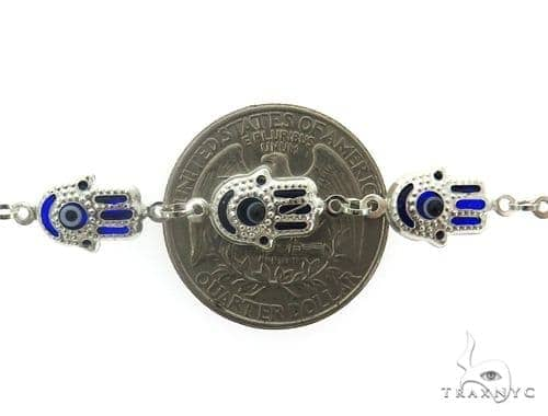 Silver CZ  Hamsa Hold Bracelet 43244 Silver & Stainless Steel