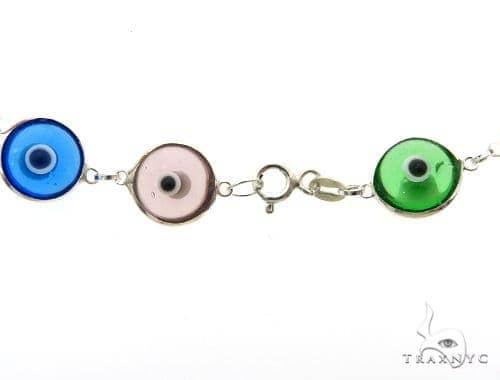 Silver CZ  Evil Eye Bracelet 43245 Silver & Stainless Steel